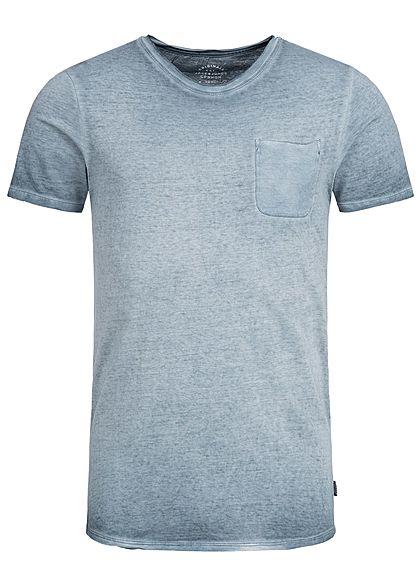 Jack And Jones Herren T Shirt Brusttasche Rollkante Total Eclipse