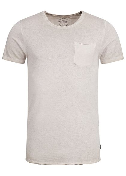 125dd348014847 Jack and Jones Herren T-Shirt Brusttasche Rollkante aluminium beige -  77onlineshop