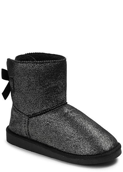 688b6a10c50f46 Hailys Damen Schuh Winter Boot Glitzer Schleife schwarz - 77onlineshop