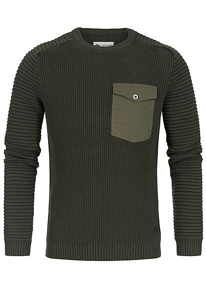 Jack and Jones Herren Sweater Struktur-Stoff rosin olive