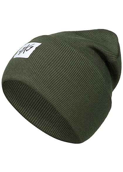 Jack and Jones Herren Beanie Frontpatch forest night olive