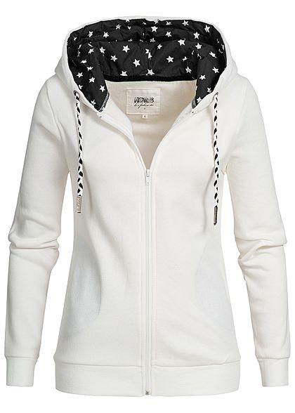 ONLY Damen Zip Hoodie Herz Muster 2 Taschen schwarz weiss - 77onlineshop 4fe0550824
