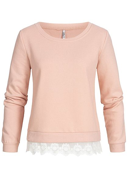 Hailys Damen Sweater 2in1 Optik mit Spitze rosa
