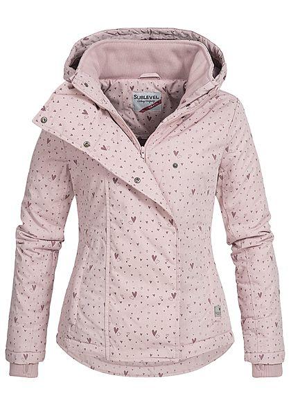 Eight2Nine Damen Winter Jacke Kapuze Herz Muster 2 Taschen by Sublevel hell  rosa - 77onlineshop 34a82c6927