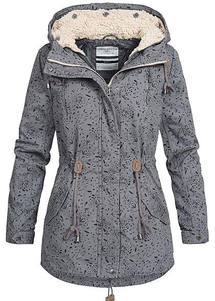 38a744983e71 Eight2Nine Damen Winter Jacke Parka Kapuze Herbst Muster by Urban Surface  dunkel grau - 77onlineshop