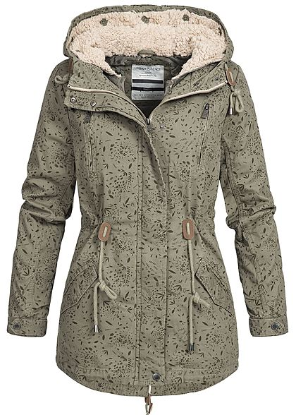 Eight2Nine Damen Winter Jacke Parka Kapuze Herbst Muster by Urban Surface dusty olive