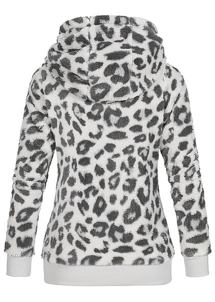 Sublevel Damen Fleece Hoodie Kapuze Tunnelzug Leo Print 2-Pockets fog weiss