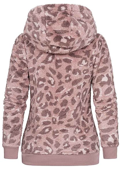 Sublevel Damen Fleece Hoodie Kapuze Tunnelzug Leo Print 2-Pockets vintage rosa