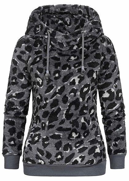 Eight2Nine Damen Fleece Hoodie Kapuze Leo Print 2 Taschen by Sublevel iron dunkel grau