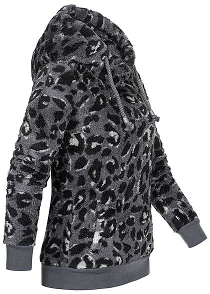 Sublevel Damen Fleece Hoodie Kapuze Tunnelzug Leo Print 2-Pockets iron grau