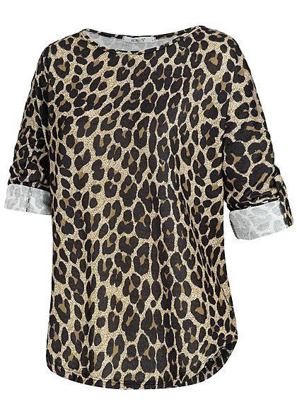 Hailys Damen Turn-Up Shirt Leo Print braun schwarz