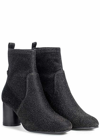 ONLY Damen Schuh Stiefelette Glitzer Absatz: 6,5cm schwarz