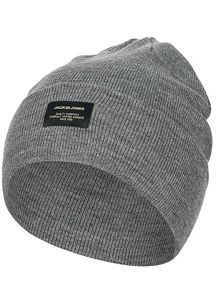 Jack and Jones Herren Beanie Frontpatch NOOS hell grau