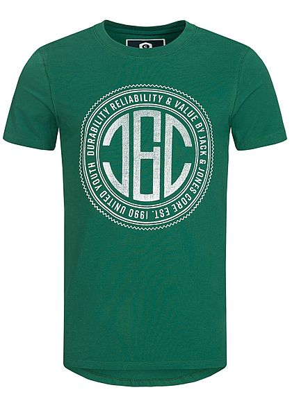 Jack and Jones Herren T-Shirt CORE Frontdruck evergreen grün weiss