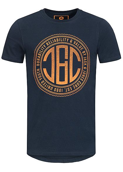 Jack and Jones Herren T-Shirt CORE Frontdruck sky captain blau orange