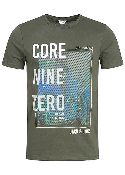 Jack and Jones Herren T-Shirt CORE Frontdruck rosin olive weiss
