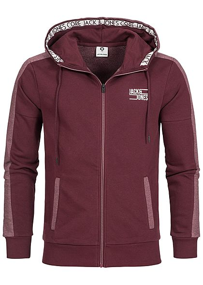 Jack and Jones Herren Sweat Zip Hoodie Kapuze 2 Taschen port royal bordeaux rot