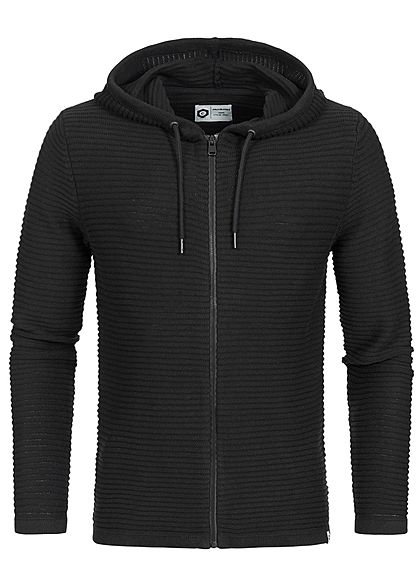 Jack and Jones Herren Cardigan Strickjacke Kapuze Struktur Muster schwarz