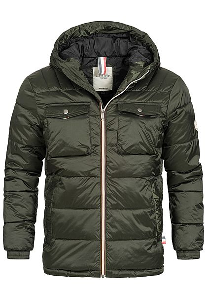 Jack and Jones Herren Steppjacke Kapuze 4 Taschen rosin olive grün - Art.-Nr.: 18114033