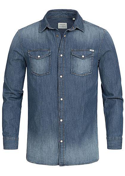 87689b88271e29 Jack and Jones Herren Hemd Jeans Optik 2 Brusttaschen blau denim -  77onlineshop