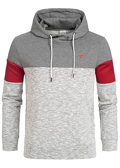 Jack and Jones Herren Hoodie Kapuze Colorblock Kängurutasche grau rot