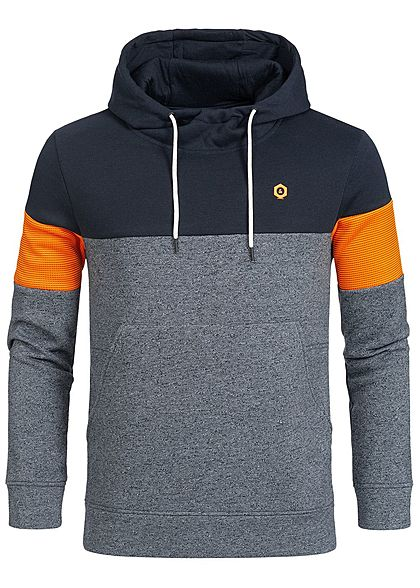 Jack and Jones Herren Hoodie Kapuze Colorblock Kängurutasche sky captain blau