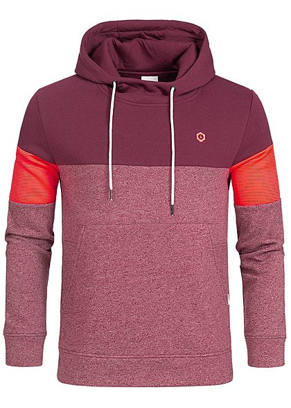 Jack and Jones Herren Hoodie Kapuze Colorblock Kängurutasche zinfandel rot