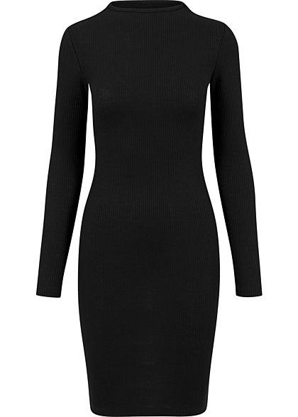 Urban Classics Damen Ribbed Mini Langarm Kleid schwarz