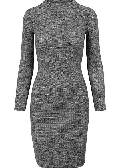 Urban Classics Damen Ribbed Mini langarm Kleid dunkel grau