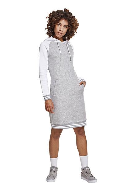 2d9ca2b7be51 Seventyseven LifestyleTB Damen Sweat Kleid Kapuze 2 Taschen 2-Tone grau  weiss - 77onlineshop