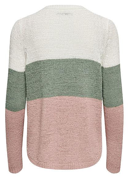 ONLY Damen NOOS Colorblock Strickpullover Streifen Muster Vokuhila weiss grün rosa