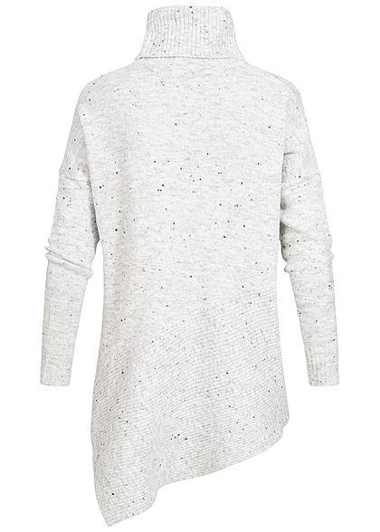 Seventyseven Lifestyle Damen Rollkragen Sweater Stern Print hell grau melange schwarz