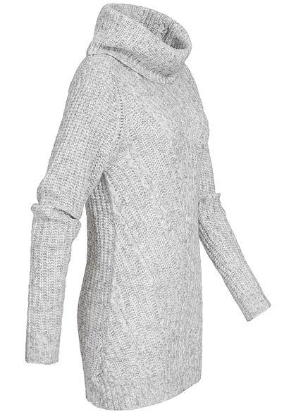 Seventyseven Lifestyle Damen Longform Strickpullover Lurex Streifen hell grau