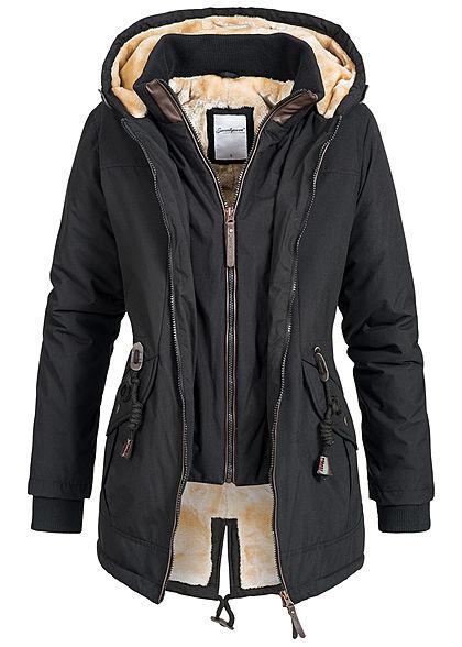 de77b57db9c730 Seventyseven Damen Winter Jacke Kapuze Teddyfell 2in1 Optik 2 Taschen  schwarz - 77onlineshop