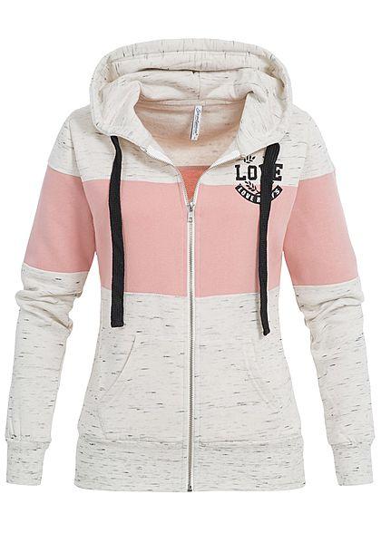 klassischer Stil autorisierte Website neuer Stil von 2019 Seventyseven Lifestyle Damen Zip Hoodie Kapuze 2-Tone Love Print rosa beige  melange