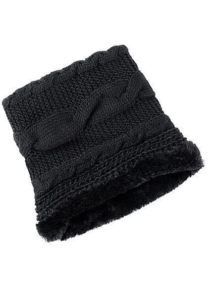 Seventyseven Lifestyle Damen Strick Loop Schal gefüttert schwarz