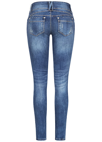 Hailys Damen Skinny Jeans Hose 5-Pockets Low Waist Crash Optik dunkel blau denim