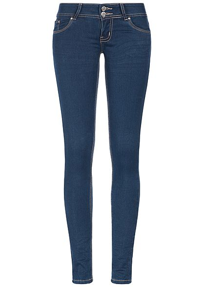 a6105c8750f4d5 Seventyseven Lifestyle Damen Skinny Jeans Hose 5-Pockets Low Waist dunkel  blau denim - 77onlineshop
