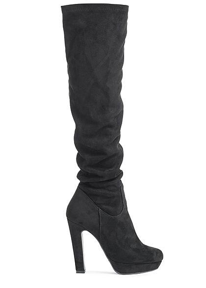 e4a6c860182969 Seventyseven Lifestyle Damen Schuh Overknee Stiefel Kunstleder schwarz -  77onlineshop