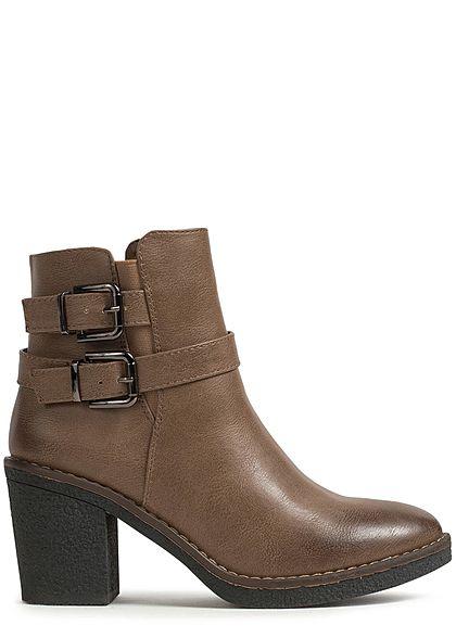 competitive price 9ad39 ae9e3 Seventyseven Lifestyle Damen Schuh Stiefelette Kunstleder Absatz: 8cm beige  braun