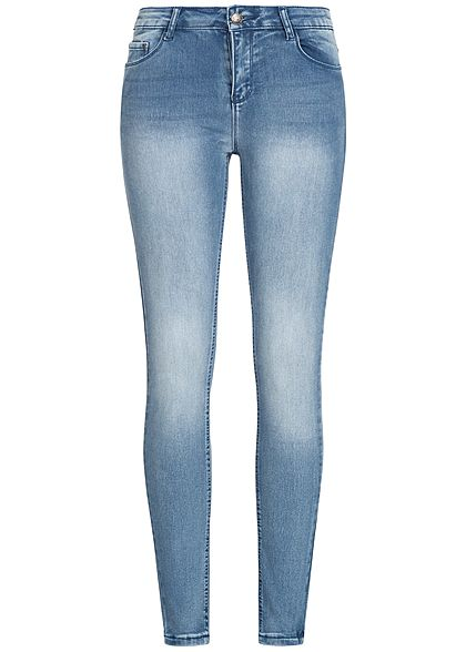 Seventyseven Lifestyle Damen Skinny Jeans Hose 5-Pockets Regular Waist blau denim
