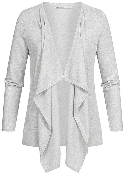 ONLY Damen Draped Cardigan NOOS hell grau melange