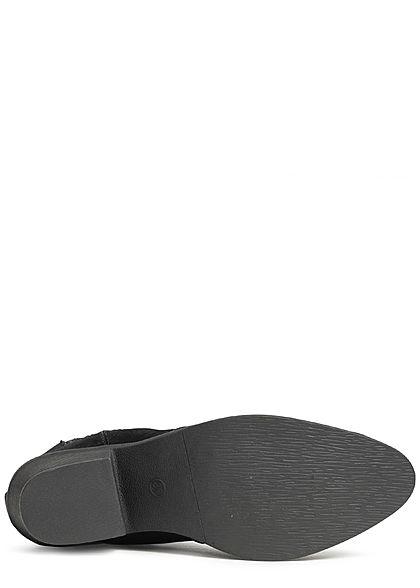 Hailys Damen Schuh Stiefelette Kunstleder Samt Optik Absatz: 6cm schwarz