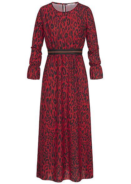 fd3e3dd32441 Hailys Damen Longform Kleid Leo Print Gummibund rot schwarz