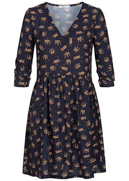 34 77onlineshop Damen Muster Hailys Blau Arm Kleid Tiger Braun Navy UzSMqpV