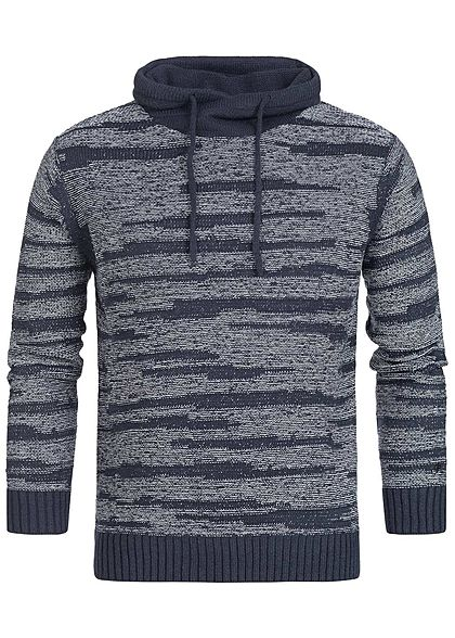 Hailys Herren High-Neck Sweater navy blau weiss