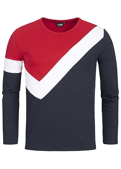 Hailys Men Longsleeve Colorblock rot weiss navy
