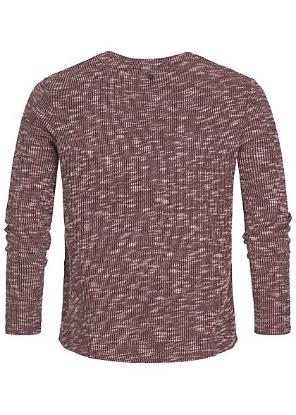Hailys Herren Sweater Struktur-Stoff wine bordeaux rot