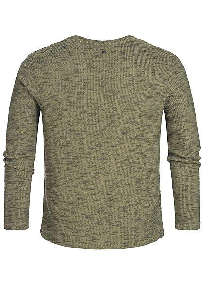 Hailys Herren Sweater Struktur-Stoff khaki grün