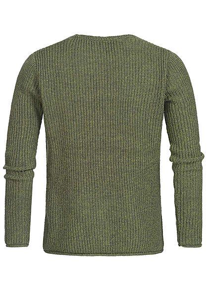 Hailys Herren Grobstrick Sweater Brusttasche khaki grün melange